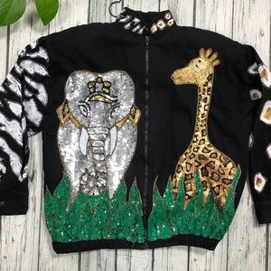 Vintage Modi Denim sequin jacket Zoo Animal Theme